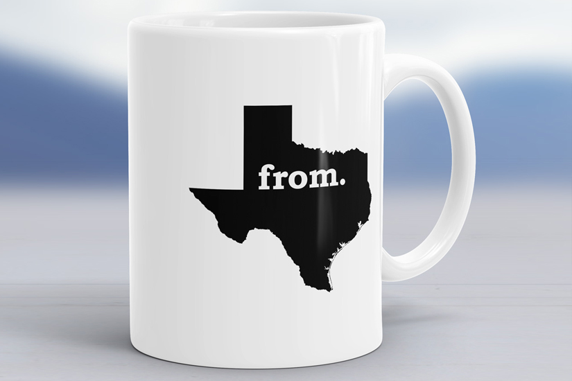 T's From - Ceramic Coffee Mug with Texas